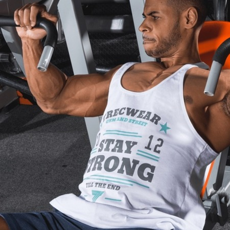 Trec Tank Top Muskelshirt Stringer Fitness Bodybuilding  TW 10 Weiss - L